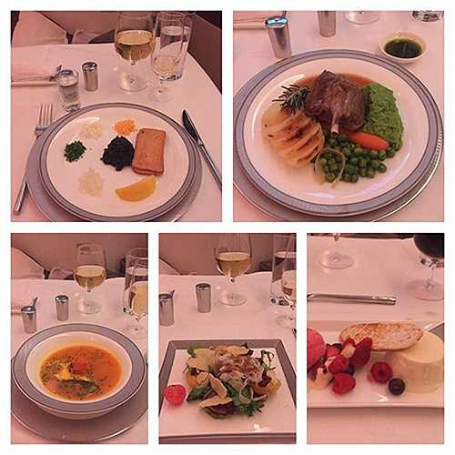 Hành khách James Mlinton chia sẻ về các món ăn anh thưởng thức trên khoang hạng nhất của hãng Singapore Airlines.