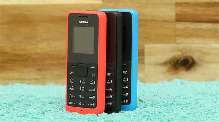 Nokia 105 (400.000 đồng). Là điện thoại giá rẻ nhất trong danh sách điện thoại của Microsoft, Nokia 105 kế thừa nhiệm vụ mà chiếc Nokia 1280 để lại là mang tới cho mọi người chiếc điện thoại tốt nhất về giá cả lẫn giá trị đối với việc liên lạc. Máy có thiết kế vuông vức, đường nét đơn giản nhưng vẫn đảm bảo sự chắc chắn và bền bỉ.