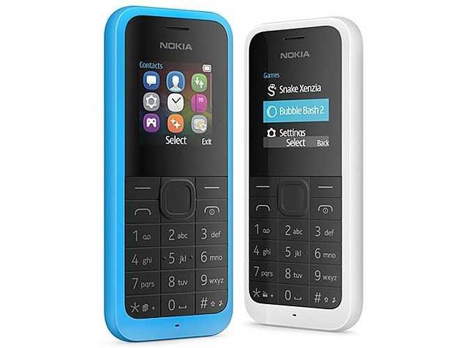 Nokia 105 Dual SIM (400.000 đồng). Phiên bản cải tiến của Nokia 105, 105 Dual SIM mang trong mình một thiết kế bo tròn, bầu bĩnh hơn. Máy hỗ trợ hai SIM hai sóng, một tính năng 'thời thượng' đối với các mẫu máy phổ thông hiện nay. Bộ nhớ máy được Microsoft nâng cấp lên đáng kể khi có thể chứa tới 2.000 số trong danh bạ. Thông số kỹ thuật còn lại của máy bao gồm: màn hình 1,4 inch 128 x 128 pixel, viên pin 800 mAh đảm bảo thời gian sử dụng dài, luôn sẵn sàng hoàn thành nhiệm vụ liên lạc mọi lúc