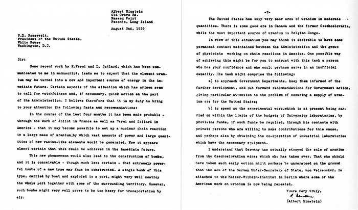 2/8/1939, ALbert Einstein viết thư tay cảnh báo Tổng thống Mỹ Franklin D. Roosevelt về ảnh hưởng của bom nguyên tử