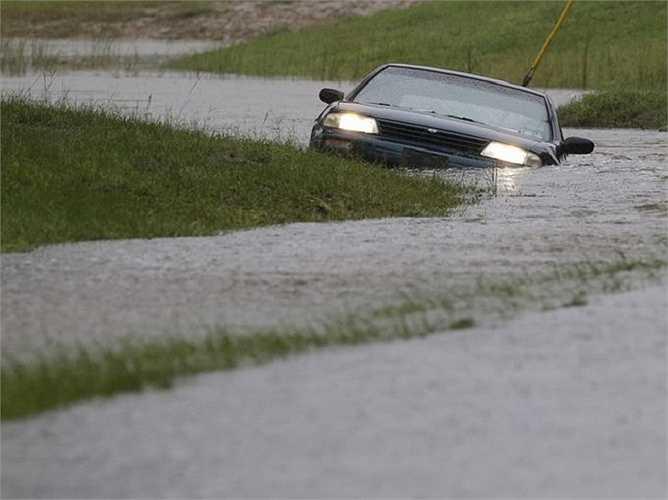 Một chiếc xe bị kẹt trong nước lũ