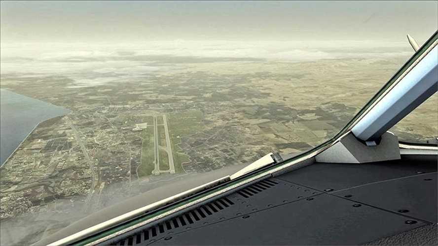 Ảnh chụp từ máy bay chuẩn bị hạ cánh xuống sân bay Syria.