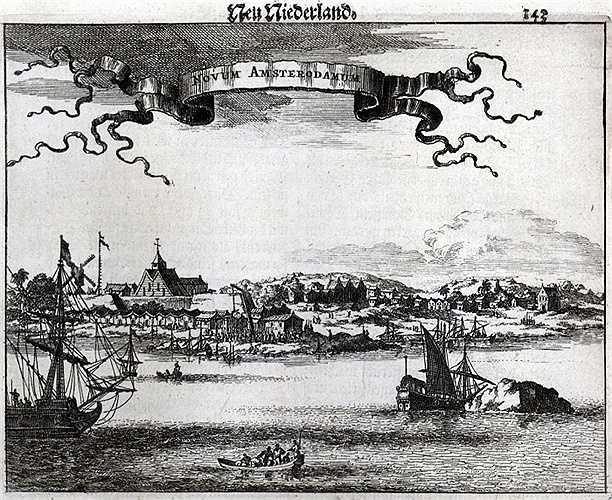 Bức tranh khắc gỗ cho thấy khung cảnh Manhattan từ năm 1651