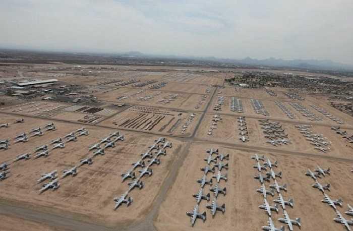 Hình ảnh căn cứ không quân Davis Monthan ở Tucson, Arizona, Mỹ nhìn từ trên cao