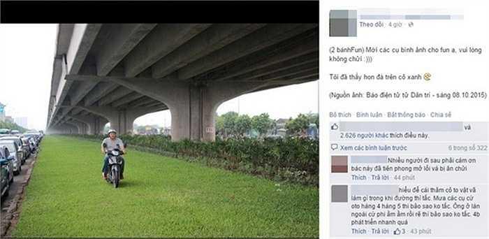 Hình ảnh người đàn ông thản nhiên lái xe trên thảm cỏ xanh bị cộng đồng mạng chỉ trích mạnh mẽ về hành vi vô văn hóa giao thông. (Ảnh chụp màn hình)