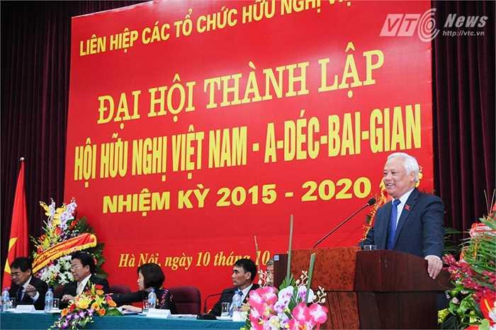 Phó Chủ tịch Quốc hội Uông Chu Lưu phát biểu chúc mừng Hội hữu nghị Việt Nam - Azerbaijan