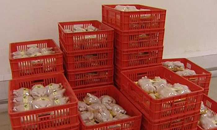 Những con gà thành phẩm được bảo quản trong phòng lạnh để chờ đem phân phối trên thị trường.