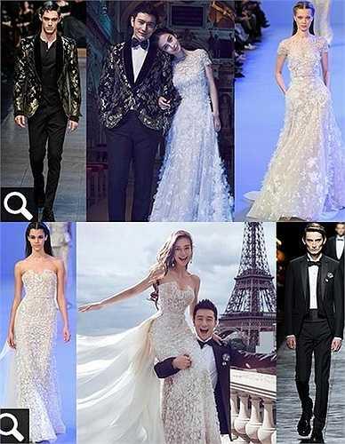 Trong đám cưới tối 8.10, Angelababy diện váy cưới dài 35m, là thiết kế riêng từ Giám đốc sáng tạo Raf Simons của Dior trong vòng 5 tháng, dựa trên ý tưởng của chính cô dâu.