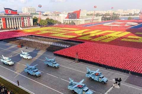 Toàn cảnh buổi lễ duyệt binh của Triều Tiên