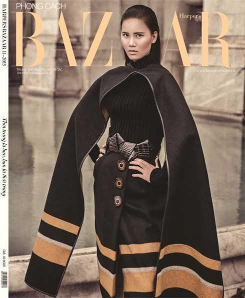 Hương Ly trên bìa tạp chí Harper's Bazaar.