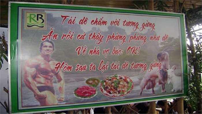 Biển quảng cáo hài hước, dí dỏm về món tái dê của nhà hàng.