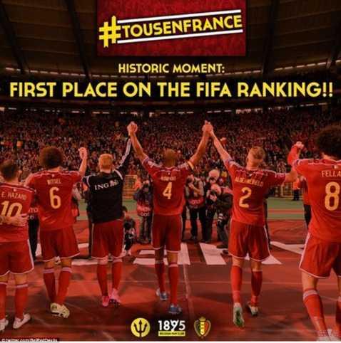 ĐT Bỉ leo lên vị trí số 1 bảng xếp hạng FIFA sau vòng loại Euro 2016