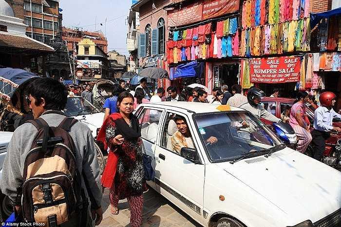 Cảnh tắc đường ở thủ đô Kathmandu, Nepal