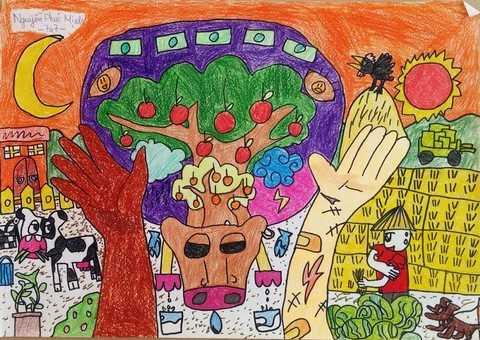 """Còn với Nguyễn Phúc Minh, học sinh lớp 7A7, Trường PTLC Vinschool, bức tranh mang tên """"Chung tay làm – Cùng nhau hưởng"""" đã đưa ra giải pháp chống lại đói nghèo hiệu quả nhất: Đôi tay bạn làm nên tất cả, chăm chỉ làm việc sẽ không bao giờ bị đói."""
