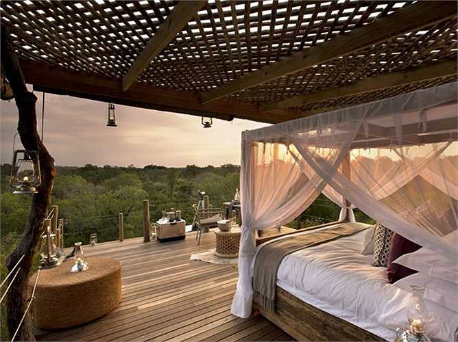 2. Khu nghỉ dưỡng sang trọng Lion Sands, Sabi Sand, Nam Phi: Lion Sands có tầm nhìn tuyệt đẹp ra sông Sabi. Các phòng được trang trí gỗ mun và ngà voi với nhiều hiện vật gốc Phi. Các phòng cũng có các cửa lớn để ngắm nhìn các loài động vật. Giá phòng ở đây khoảng 583 USD/đêm.
