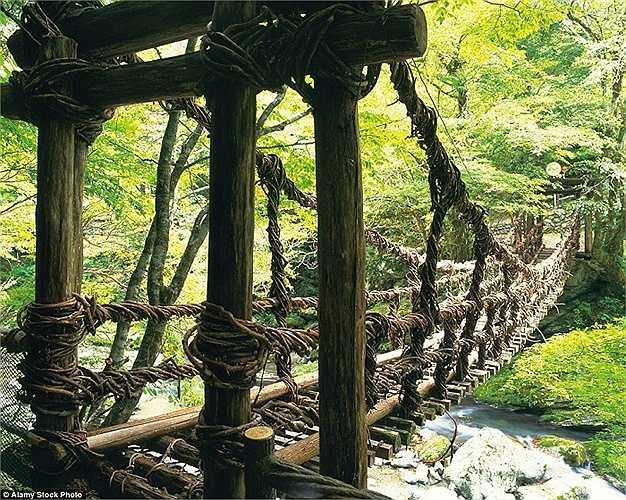 Cây cầu làm hoàn toàn từ gỗ nho ở đảo Shikoku,Nhật Bản không phù hợp với những ai thích sự chắc chắn