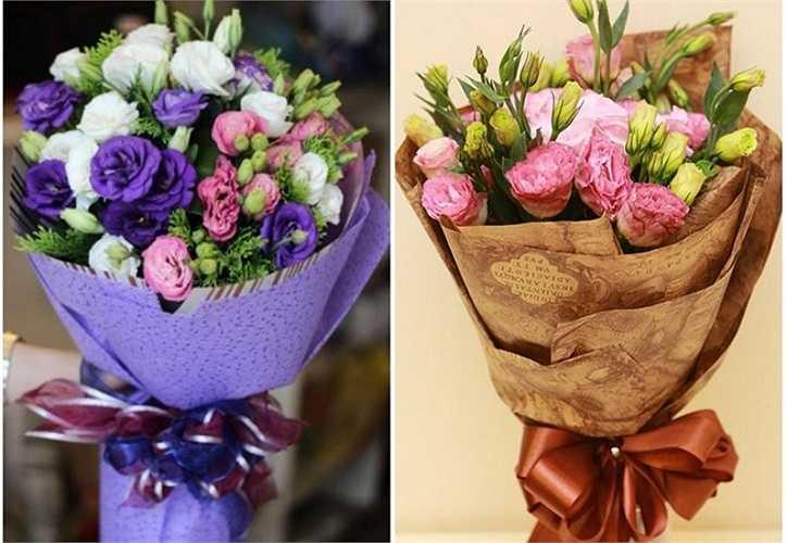 Trên thị trường, những bó hoa cát tường có giá trên 300.000 đồng, những bó cầu kỳ, xen lẫn các loại hoa hồng, hoa baby có giá trên 500.000 đồng.