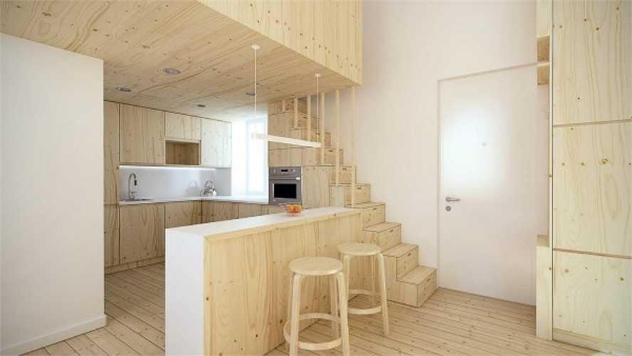Căn hộ đầu tiên là thiết kế của kiến trúc sư Igor Glushan. Một không gian nhỏ nằm ở Saint Petersburg, chủ nhân là một nhân viên công nghệ cao.