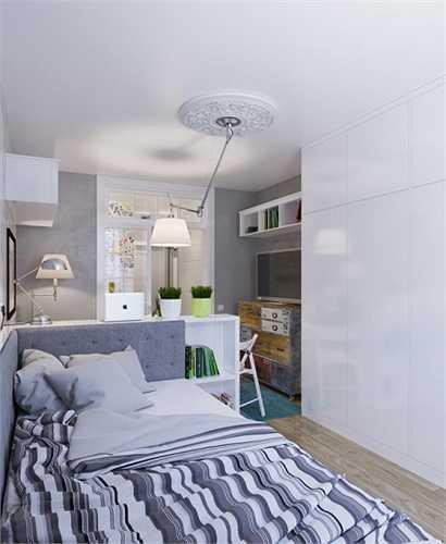 Căn hộ tiếp theo có diện tích chỉ 25m2, dành cho một người ở. Trong căn hộ này, chủ nhân đã sử dụng cửa trượt để phân chia các không gian.