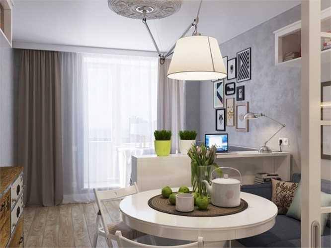 Căn hộ thứ ba có diện tích siêu nhỏ 15m2, không có không gian dành riêng cho phòng ngủ nên nhà thiết kế đã lựa chọn một chiếc giường đa chức năng, có thể dùng như một chiếc ghế sofa.