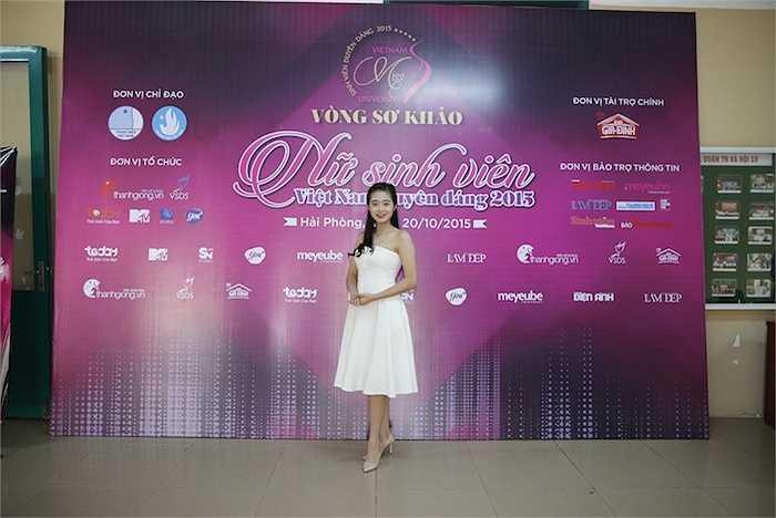 Đến tham dự vòng Sơ khảo cuộc thi VMU 2015 tại Hải Phòng còn có sự góp mặt của Á khôi VMU 2014- Nguyễn Phạm Khánh Linh.