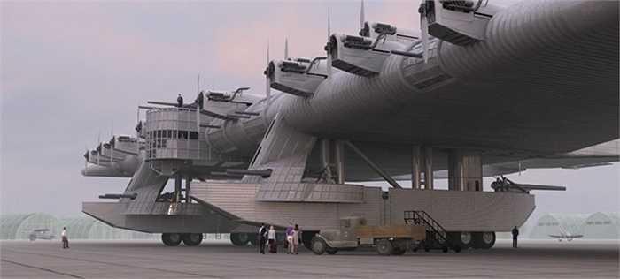 Những hình ảnh này có thể giúp hình dung được mức độ to lớn của loại 'pháo đài bay' này của quân đội Liên Xô