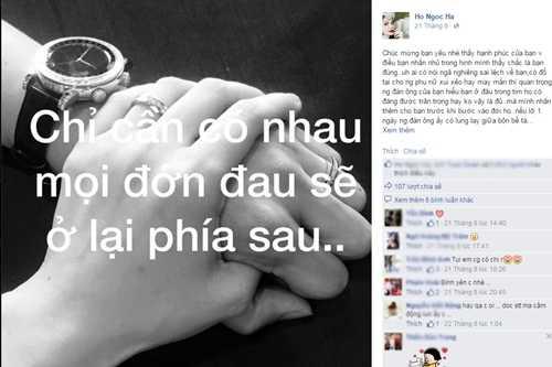 Trên trang cá nhân, Hà Hồ từng khoe khéo bức ảnh cô nắm chặt tay một người đàn ông với lời nhắn gửi: Chỉ cần có nhau, mọi đớn đau sẽ ở lại phía sau.