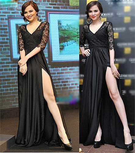 Hoa hậu Diễm Hương cũng có pha xoạc chân rộng, quá mức cần thiết.
