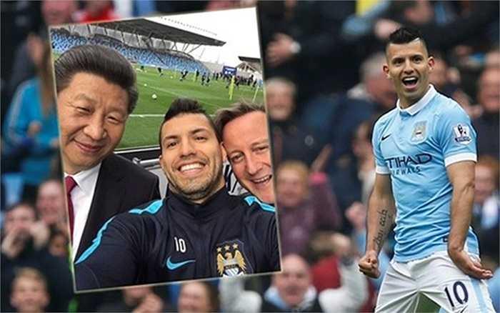 Tại đây, người đứng đầu Trung Quốc đã chụp ảnh cùng ngôi sao hàng đầu của Man City, Sergio Aguero