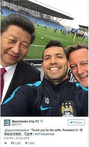 Trang Twitter của Man City cũng trang trọng lấy lại bức ảnh này, kèm lời cảm ơn tới ông Tập Cận Bình