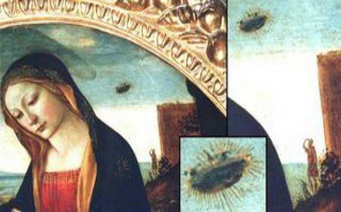 Trong bức tranh thêu thời trung cổ ở Collegiale Notre-Dame, tại Beaune, Pháp có miêu tả Đức Mẹ đồng trinh với một chiếc đĩa bay ở phía sau. Nhiều người cho rằng rất có thể các họa sĩ đã vô tình trở thành nhân chứng chứng kiến điều gì đó kỳ lạ trên bầu trời vẽ tranh.