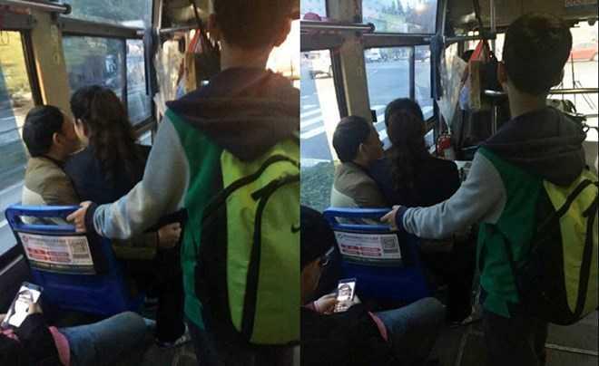 Nhân viên bán vé xe bus ngồi lên đùi chồng khi đang làm việc