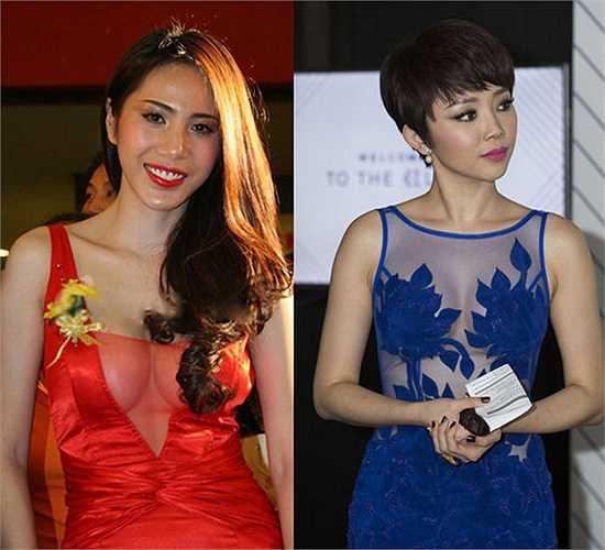 Năm 2010, Thủy Tiên đã gây sốc với lớp vải trong suốt khoe vòng 1 táo bạo. Trong khi đó, Tóc Tiên diện trang phục xuyên thấu năm 2015 vẫn kín hơn 'đàn chị'.