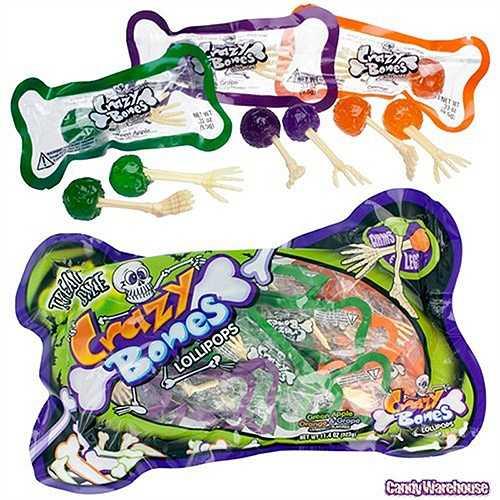 Kẹo mút Crazy Bones: Đó là những viên kẹo mút hình xương cánh tay và xương chân nhỏ. Hiện, loại kẹo này có 3 loại vị trái cây là táo xanh, cam và nho.