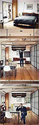 Thiết kế giường treo dao động. Chiếc giường có thể nâng lên hạ xuống này sẽ giúp bạn tận dụng được vô số không gian cho ngôi nhà.