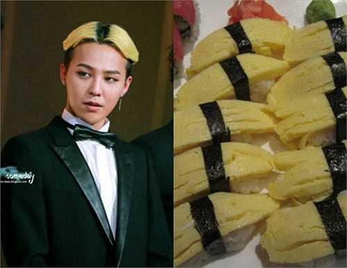 Có thời gian, kiểu tóc chẻ và nhuộm màu vàng - đen của G-Dragon trở thành đề tài được fan bàn tán xôm tụ. Thậm chí, nhiều ý kiến cho rằng, thời trang tóc tai của chàng ca sỹ này được lấy ý tưởng từ món sushi trứng cuộn.
