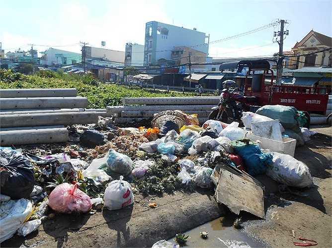Không chỉ dưới kênh nước, thậm chí người dân còn đổ rác tràn lan trên mặt đường khu vực gần 'kênh thối' Ấp Chiến Lược (gần chợ Đất Mới)...