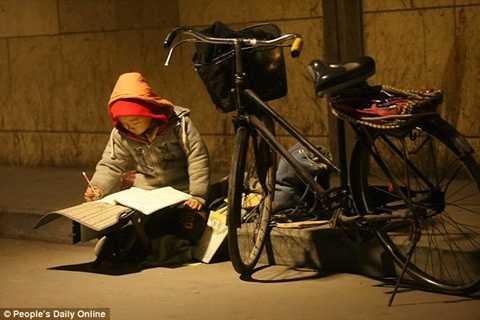 Bức ảnh cậu bé Trung Quốc học dưới ánh sáng đèn đường hiu hắt gây xúc động mạnh