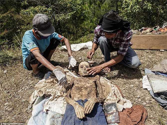 Hai người đàn ông đeo kính cho một xác chết. Theo phong tục của người Toraja, đám tang thường kéo dài nhiều ngày, bắt đầu bằng việc giết mổ trâu và lợn