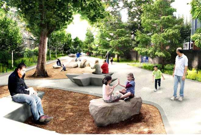 Nhiều cây xanh cùng những khoảng không gian để người dân thư giãn, vui chơi.