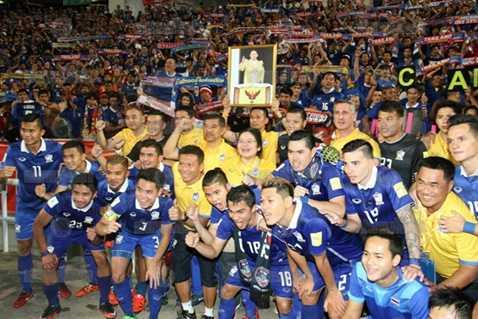 Thái Lan ăn mừng sau chiến thắng trước Đài Loan