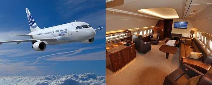 Airbus A318 Elite. Đây là một trong những phiên bản máy bay xa xỉ nhất mà Airbus từng sản xuất. Nó có đủ chỗ cho các hàng ghế ở tầng 1 và tầng 2. Ngoài ra, Airbus A318 Elite còn được trang bị thêm các khoảng không lớn để bày biện nội thất xa xỉ cho các đại gia thể hiện độ 'chịu chơi' của mình