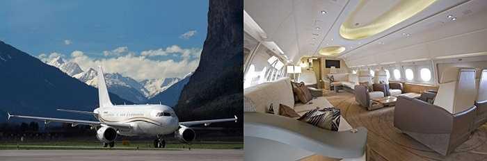 Airbus ACJ319. Chiếc máy bay này sở hữu tất cả các tiện nghi sang trọng nhất mà người ta có thể lắp đặt trên máy bay. Có thể kể đến hàng ghế ngồi thoải mái, nhà tắm với các bồn tắm dát vàng, TV công nghệ cao cùng 'cửa hàng' bar rộng rãi