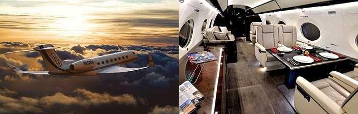 Gulfstream G650. Gulfstream G650 là máy bay tư nhân khiến nhiều người mê mẩn với tốc độ bay nhanh. Mức giá bán 650 triệu USD. Khoang hành khách rộng rãi đủ chỗ cho 10-15 hành khách có thể thoải mái trò chuyện. Ghế da cho khách dùng loại thượng hạng