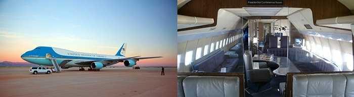 Air Force One. Đây là phiên bản máy bay riêng 'độc quyền' dành cho Tổng thống Mỹ. Air Force One sở hữu phòng truyền thông riêng, trang thiết bị hiện đại, phòng ngủ xa xỉ ... Ai có thể sống sang trọng hơn là Tổng thống Mỹ?