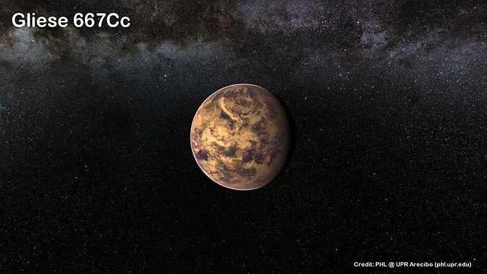 Khám phá gây sửng sốt nữa là hành tinh Gliese 667Cc, nằm cách Trái đất 22 năm ánh sáng, lớn hơn Trái đất ít nhất 4,5 lần nhưng chỉ mất 28 ngày để hoàn thành quỹ đạo quanh sao mẹ, ngắn hơn rất nhiều lần so với Trái đất. Do ngôi sao mẹ của Gliese 667Cc là một hành tinh lùn màu đỏ có nhiệt độ thấp hơn Mặt trời nên hành tinh Gliese 667Cc nhiều khả năng nằm trong 'vùng sống'. Mặc dù vậy, quỹ đạo của Gliese 667Cc gần sao mẹ đến mức có thể bị thiêu cháy bởi nguồn nhiệt cực cao từ hành tinh lùn màu đỏ.
