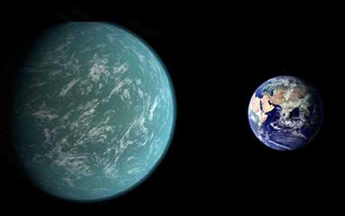 Hành tinh Kepler-22b, một siêu hành tinh cách Trái đất 600 năm ánh sáng, lớn hơn Trái đất khoảng 2,4 lần, nhiệt độ trung bình trên hành tinh này rơi vào khoảng 22 độ C, quỹ đạo quay quanh sao chủ là 290 ngày, gần giống Trái đất. Tuy vậy, vẫn chưa xác định hành tinh này có cấu tạo vật chất dạng đá, lỏng hay khí.