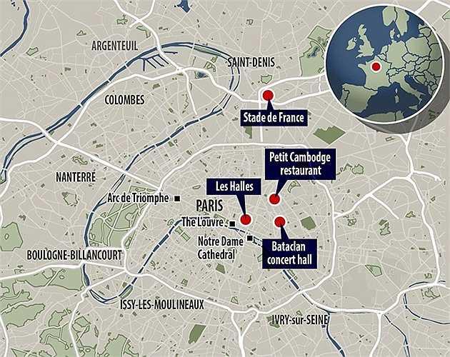 Sơ đồ nơi xảy ra các cuộc xả súng và đánh bom.