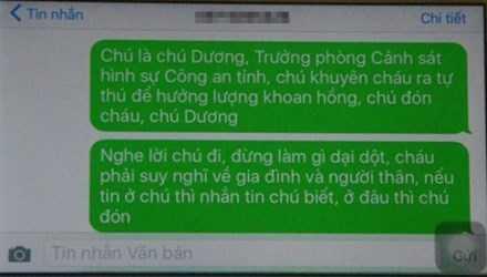 Nội dung tin nhắn của Đại tá Võ Văn Dương khuyên Cường ra đầu thú.