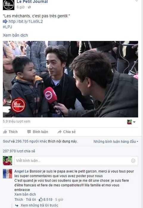 Bài phỏng vấn làm lay động hàng ngàn con tim của cặp bố con anh Angel Le – những người Pháp gốc Việt trong buổi đặt hoa tưởng niệm nạn nhân vụ khủng bố ở Paris